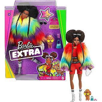 Barbie ekstra dukke i regnbuejakke med kjæledyr hund leketøy