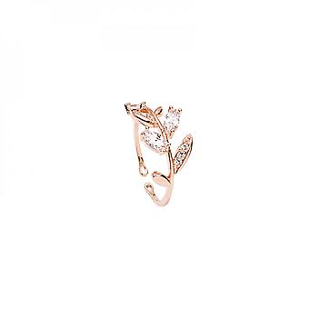 Small Pure And Fresh Temperament Sets Diamond Leaf Slightly Fashionable All - Match Student Opening Adjustable Ring Female