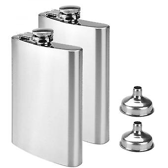 2pcs Stainless Steel Hip Flask & Funnel,8oz,227ml,for Carrying Alcohol