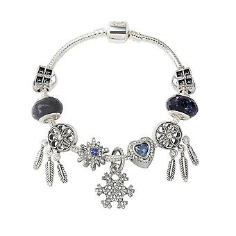 Fashion Creative Snowflake Pendant Dream Catcher Big Hole Beaded Bracelet Heart Window Glass Beads