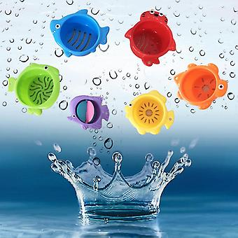 Fun Cartoon Fish Hourglass Stack Cup Science Education Bath Water Toys Children