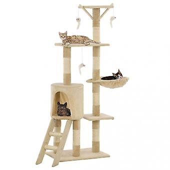 Chunhelife Cat Tree With Sisal Scratching Posts 138 Cm Beige