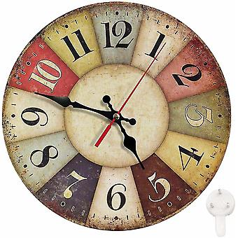 Reloj de pared redondo silencioso reloj no tictac vintage farmhouse madera decoración casera (GROUP1)
