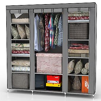 Folding cabinet 150x175x45 cm - with zipper fabric cabinet wardrobe with clothes rail, compartments and side pocket