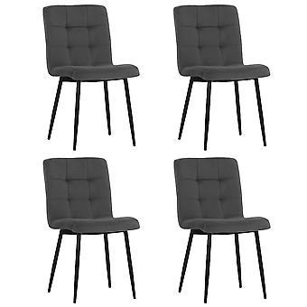 Set mit 4 modernen Frosted Velvet Esszimmerstühlen
