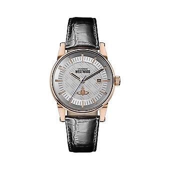 Vivienne Westwood Vv065swhbk Finsbury Ii svart läder & Rose Gold Mens Watch