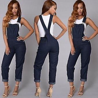 Women Denim Overalls High Waist Straps Jumpsuit Loose Jeans Pants