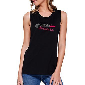 Muskler och Mascara träna muskeln Tee söt kvinnors Gym linne