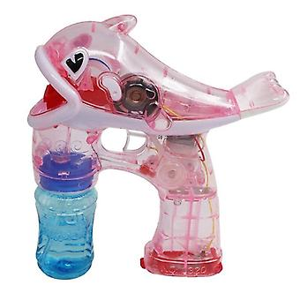 Flashing Light Kid Transparent Dolphin Bubble Machine Swimming Bath Toys Children(Pink)