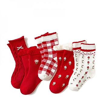 Yesfit 5 Pairs Children's Cute Cartoon Warm Breathable Autumn Winter Middle Tube Sock