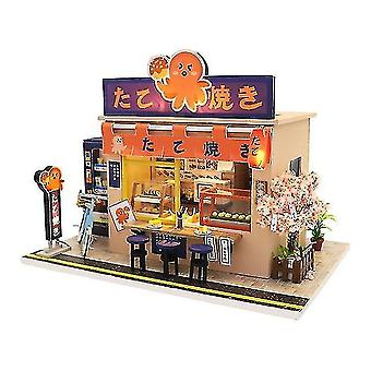 Dollhouse accessories japanese style snack bar diy wooden doll house miniaturas with furniture diy house home dollhouse