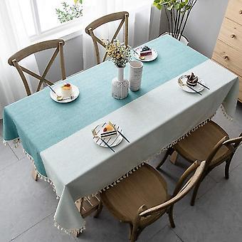 Gespleißte staubdichte Tischdecke, rechteckige Tischdecke, dekoriert mit Quasten für Garten Teetisch Ornamente (140 * 140cm, grün)
