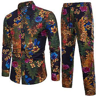 Herren Slim Fit Floral gedruckt Strand Hawaiian Button Anzug