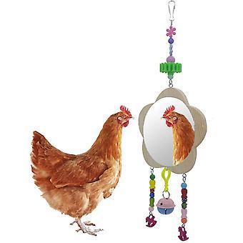 Kisállat Shatter-rezisztens madár tükör-swing tükör lógó harang és moláris csirkejáték