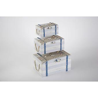 Set of 3 Nautical Wood Boxes with Sailing Fishnet Sheashells Decoration
