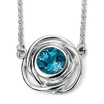 925 Silver Plated Rhodium And Topaz Blue Necklace Trend
