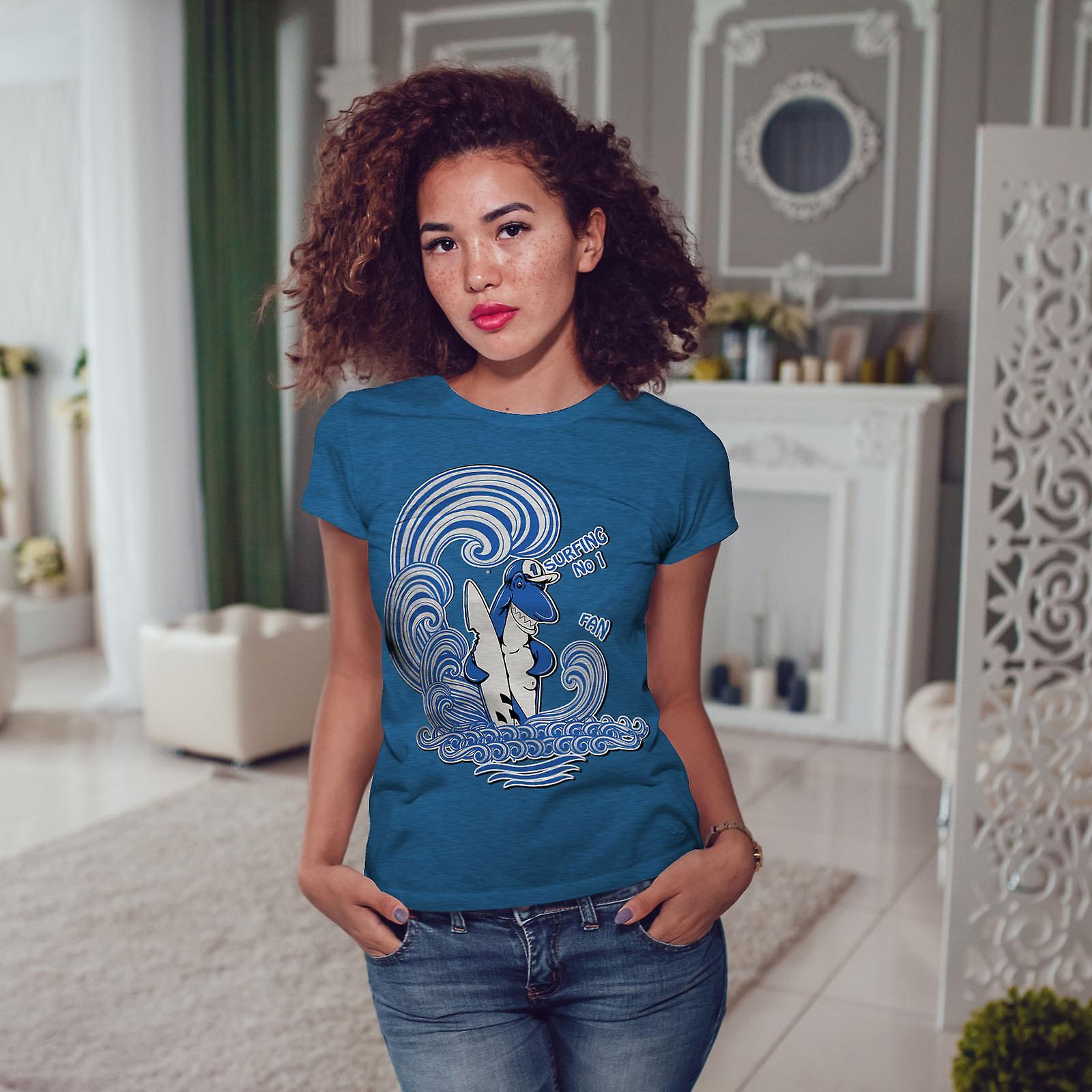 Requin Surf Fun animaux Royal BlueT-chemise femme | Wellcoda