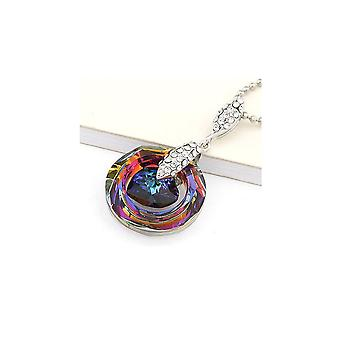 Circle and Heart pendant adorned with Swarovski Crystal Rainbow and Blue 1811