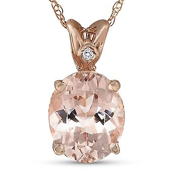 2ct Vintage Morganite & Diamond anheng 14K Rose Gold