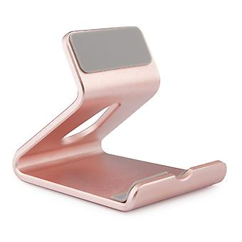 Universal Aluminum Alloy Phone Holder Stand - Compatible with iPhone and Android Smartphones - Desktop Mount Mobile Phone Portable Cradle - Pink