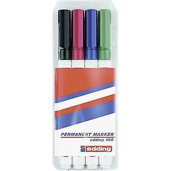Edding edding 400 04BLK400-4999 permanente marker zwart, rood, blauw, groen waterdicht: Ja