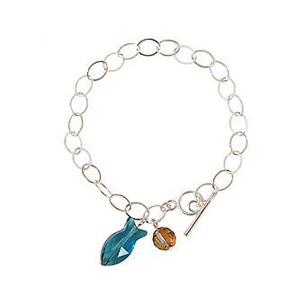 3 см - синий - Дамы - браслет - 925 серебро - рыба