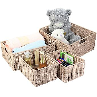 Natural Paper Rope Storage Baskets (Warm Grey, Set of 4)