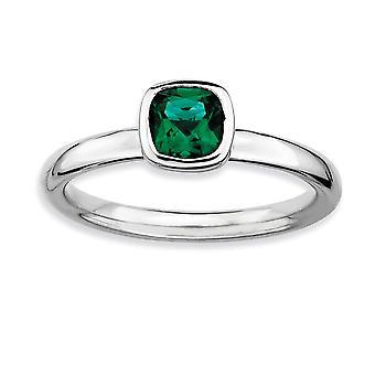 925 Sterling Sølv Bezel poleret Rhodium belagt stabelbare udtryk Pude Cut Cr. Emerald Ring smykker Gaver til W