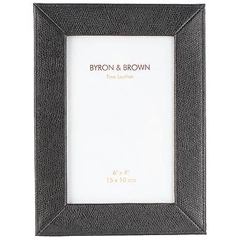 Byron and Brown Florence Slim Classic Leather Photo Frame 6x4 - Black