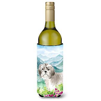 جبل الزهور شيه تزو جرو زجاجة النبيذ المشروبات عازل نعالها