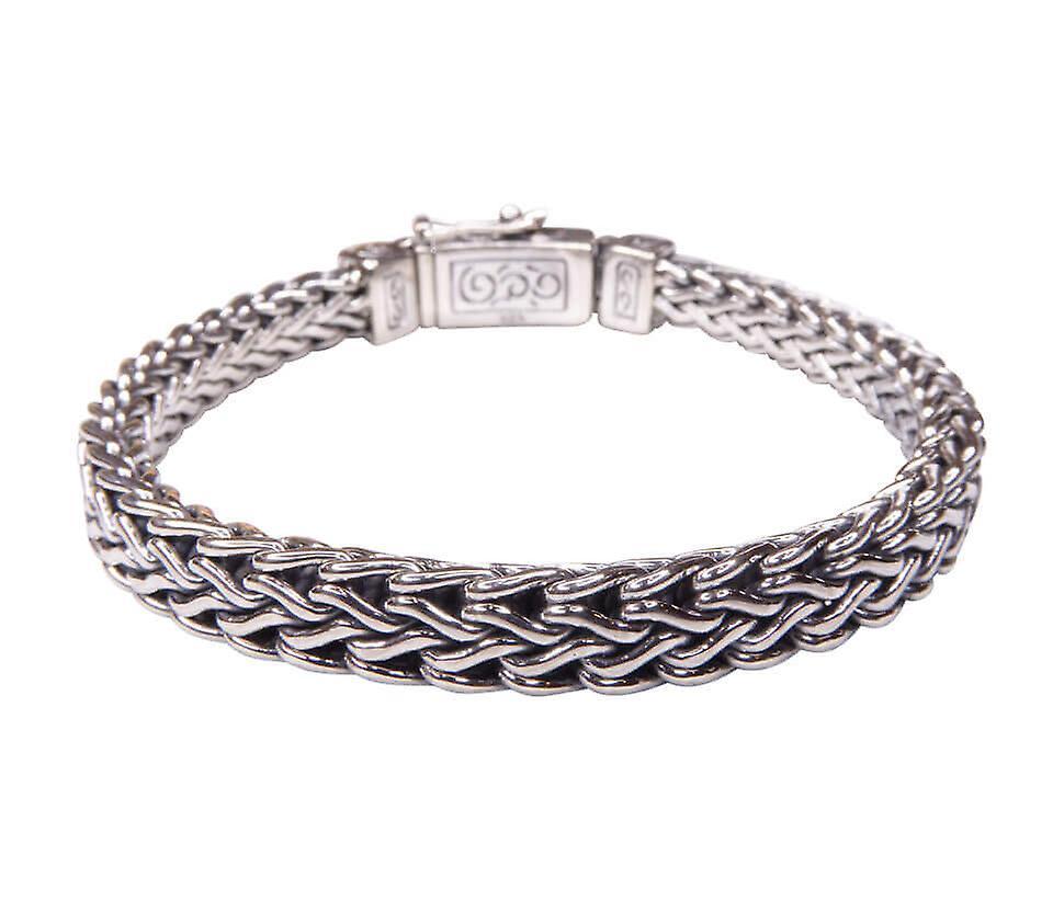 Zilveren armband met geweven rechtmodel