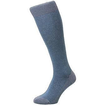 Pantherella Tewkesbury Birdseye katoen Lisle Over de kalf sokken - licht Denim Mix