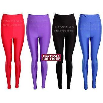 Pantalon Leggings Ladies American Style Disco taille haute Shiny PVC Femmes