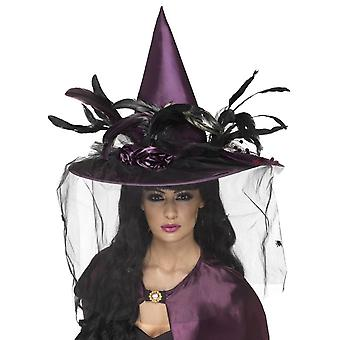 Smiffy's Witch Hat, Feathers And Netting