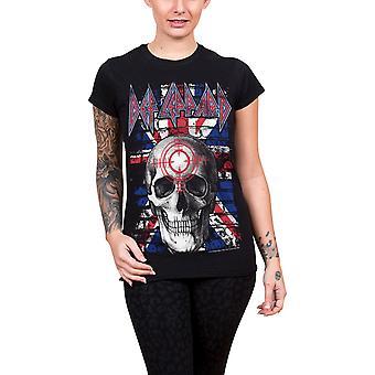 Def Leppard T Shirt Union Jack Skull band logo Official Womens Skinny Fit Black
