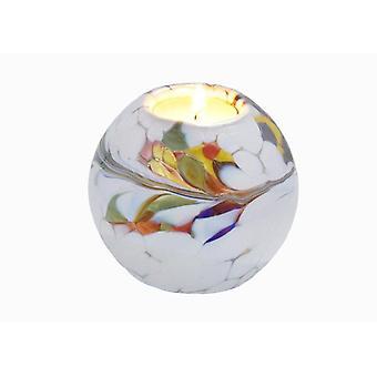 Milford Collection Round Globe Tealight Holder - White