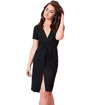 Lovemystyle zwarte Midi Wrap jurk met stropdas taille riem