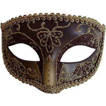 Oper Auge Maske Burgund Gold für Maskerade