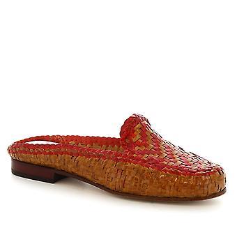 Muli a mano scarpe da donna Scarpe Leonardo in pelle di vitello intrecciata tan/red