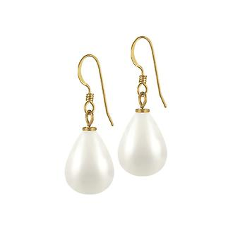 Eternal Collection Raindrop Maxi White Shell Pearl Gold Tone Drop Pierced Earrings