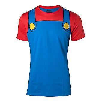 Nintendo T-Shirt Super Mario cosplay menns små blå (TS280303NTN-S)