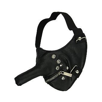 Black Long Nose Zip Mouth Half Face Riding Mask