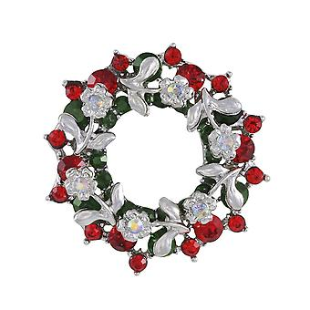 Eternal Collection Festive Wreath Multi Coloured Austrian Crystal Silver Tone Brooch