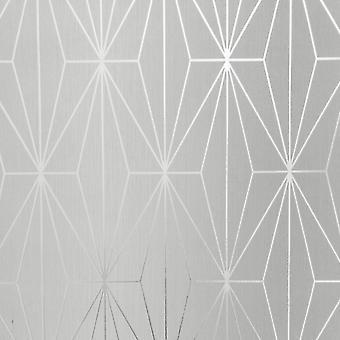 Dove gris plata metalizada geométrica wallpapertriángulos vinilo Muriva Kayla