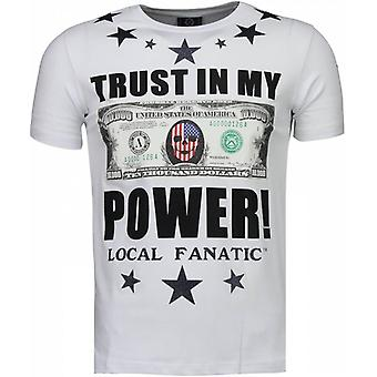 Trust In My Power-Rhinestone T-shirt-White