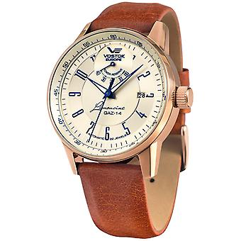 Vostok europe gaz 14 Automatic Analog Man Watch with YN85-560B519 Cowskin Bracelet