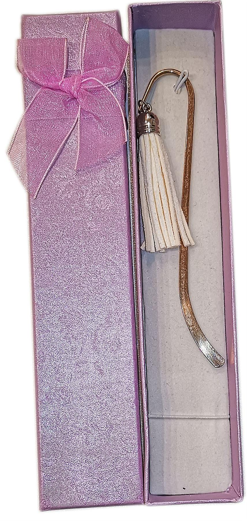 Lilypond Crafts Silver Plated Bookmark with Tassel White