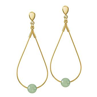 Eternal Collection Eclectic Green Agate Gold Tone Drop Teardrop Clip On Earrings