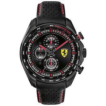 Scuderia Ferrari-| Homens ' s Speed-Racer | Bracelete em pele preta | Mostrador preto | 0830647 relógio