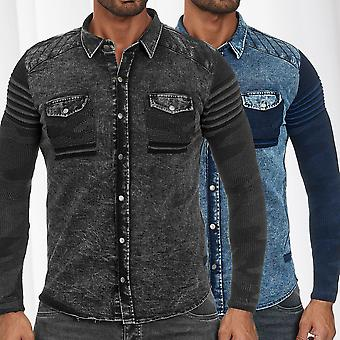 Mens Shirt Jeans Look Fabric Mix Longsleeve Mottled Transition Jacket Biker Polo